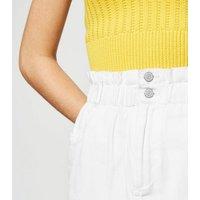 White Paperbag Denim Skirt New Look