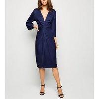 Blue Vanilla Navy Twist Front Midi Dress New Look