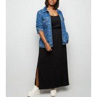 Curves Black Elasticated Waist Jersey Maxi Dress New Look