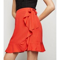 Red Ruffle Front Wrap Mini Skirt New Look