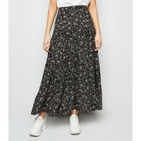 Black Floral Tiered Maxi Skirt New Look