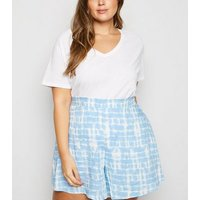 Curves Pale Blue Tie Dye Shorts New Look