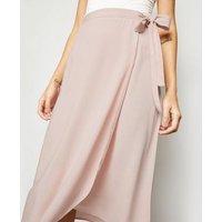 Mid Pink Wrap Midi Skirt New Look
