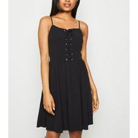 Petite Black Lace Up Skater Dress New Look