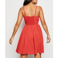 Petite Red Lace Up Skater Dress New Look