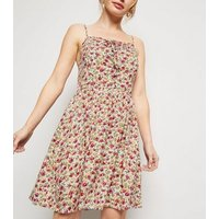 Petite White Floral Lace Up Mini Dress New Look