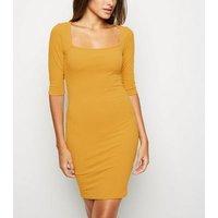 Mustard Square Neck Bodycon Dress New Look