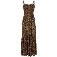 Petite Navy Leopard Print Shirred Maxi Dress New Look