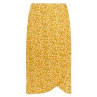Curves Mustard Ditsy Floral Wrap Midi Skirt New Look