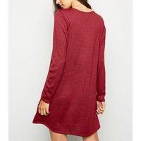 Burgundy Long Sleeve T-Shirt Dress New Look