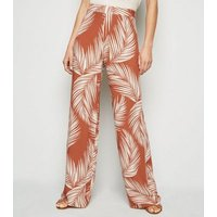 Tall Rust Palm Print Wide Leg Trousers New Look