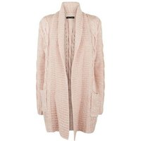 Pale Pink Cable Knit Cardigan New Look
