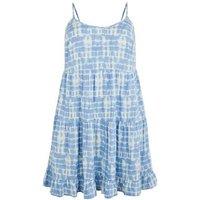 Curves Blue Tie Dye Tiered Mini Dress New Look