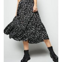 Black Ditsy Floral Button Up Midi Skirt New Look