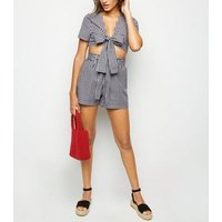 Cameo Rose Black Gingham Tie Front Top New Look