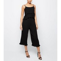 Cameo Rose Black Pleated Frill Cami New Look