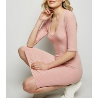 Pink Ribbed V Neck Bodycon Dress New Look