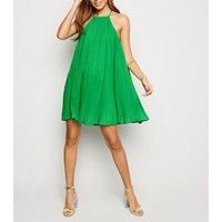 Green Pleated Halterneck Shift Dress New Look