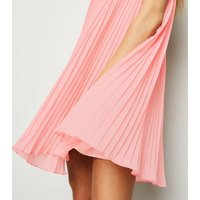Coral Pleated Halterneck Shift Dress New Look