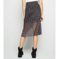Girls Black Floral Mesh Wrap Midi Skirt New Look