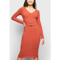 Rust Belted Bodycon Midi Dress New Look