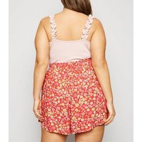 Curves Red Floral Wide Leg Shorts New Look
