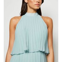 Light Green Halterneck Pleated Midi Dress New Look
