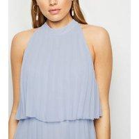 Pale Blue Halterneck Pleated Midi Dress New Look