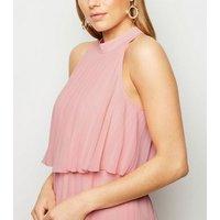 Coral Halterneck Pleated Midi Dress New Look