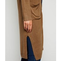 Camel Button Up Midi Cardigan New Look