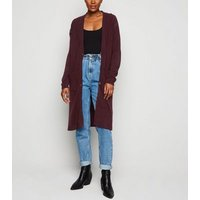 Burgundy Button Up Midi Cardigan New Look