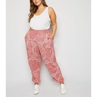 Curves Red Paisley Cheesecloth Joggers New Look