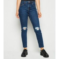 Petite Blue Mid Rise Ripped Skinny Jeans New Look