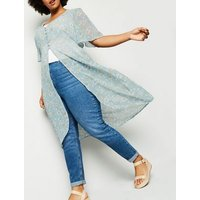 Curves Blue Floral Button Up Kimono New Look