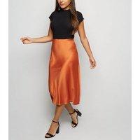 Petite Rust Satin Bias Cut Midi Skirt New Look