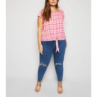 Curves Pink Check Tie Front Top New Look