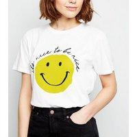 White Nice To Be Nice Slogan T-Shirt New Look