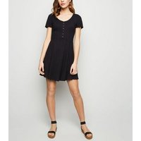 Black Ribbed Button Up Skater Dress New Look