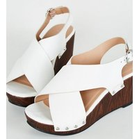 Wide Fit White Cross Strap Wood Wedges New Look