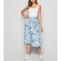 Blue Tie Dye Belted Denim Midi Skirt New Look