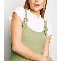 Khaki Buckle Ribbed Mini Dress New Look