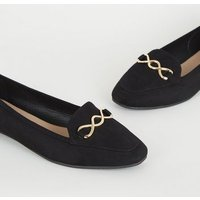 Wide Fit Black Square Toe Loafers New Look Vegan