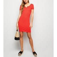 Red Notch Neck Jersey Mini Dress New Look