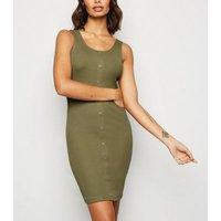 Khaki Ribbed Jersey Bodycon Mini Dress New Look