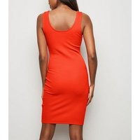 Red Ribbed Jersey Bodycon Mini Dress New Look
