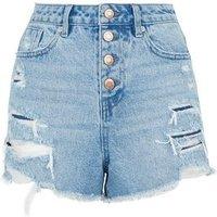 Blue Ripped Denim Mom shorts New Look