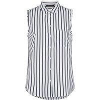 White Stripe Sleeveless Shirt New Look