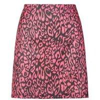 Blue Vanilla Bright Pink Leopard Print Skirt New Look