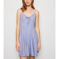 Lilac Ribbed Lace Up Skater Dress New Look