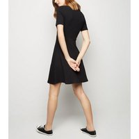 Black Lace Up Front Skater Dress New Look